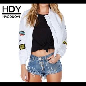 HDY Haoduoyi White Biker Bomber Jacket Patches